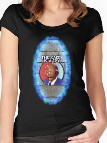 The Cake Is... A Spy?!? Women's Fitted Scoop T-Shirt