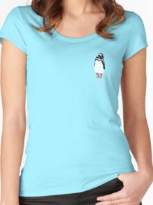 Penguin in Red Converse Crest Women's Fitted Scoop T-Shirt