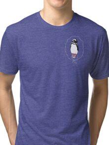 Penguin in Red Converse Crest Tri-blend T-Shirt