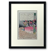 Humorous picture showing Chinese religious practices  Raijin the Japanese God of Thunder ranting to a crowd of Chinese Buddhist worshippers 002 Framed Print