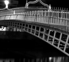 Ha'Penny Bridge At Night (mono) Sticker