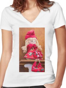 handmade doll Women's Fitted V-Neck T-Shirt