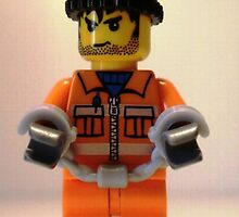 LEGO® City Convict Prisoner Minifig Minifigure with Handcuffs, by 'Customize My Minifig' by Chillee