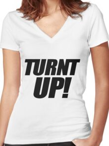 Turnt Up Women's Fitted V-Neck T-Shirt
