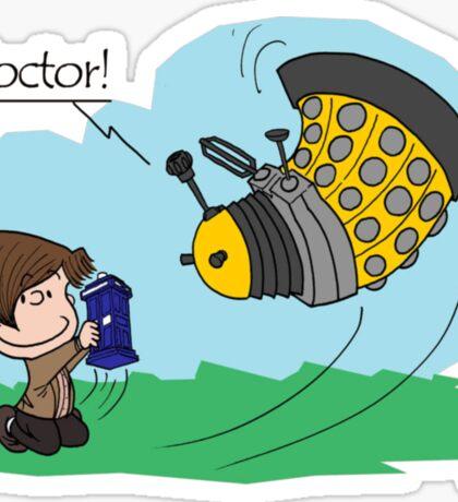Eleventh Doctor vs a Dalek ... Peanuts Style Sticker