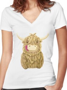 Cartoon Scottish Highland Cow Women's Fitted V-Neck T-Shirt