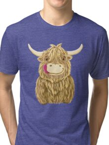 Cartoon Scottish Highland Cow Tri-blend T-Shirt