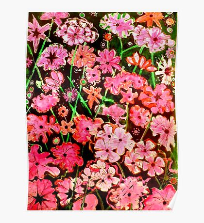 Pink Flower Etching No.1 Poster