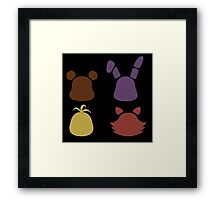 Bear, bunny, chick and fox2 pattern -black- Framed Print