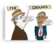 Economic politics of Roosevelt and Obama caricature Canvas Print