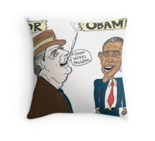 Economic politics of Roosevelt and Obama caricature Throw Pillow