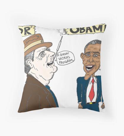 Economic politics of Roosevelt and Obama caricature Throw Pillow