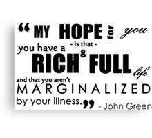 John Green Quote - Mental Illness Canvas Print