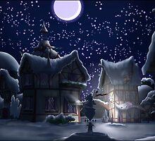 Ponyville, Night, Snowy by Stinkehund