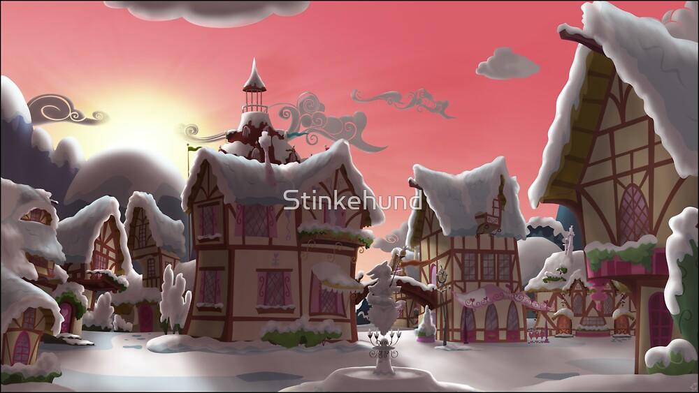Ponyville, Dawn, Snowy by Stinkehund