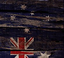 Vintage Australia Flag - Cracked Grunge Wood by UltraCases
