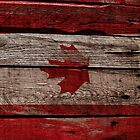 Vintage Canada Flag - Cracked Grunge Wood by UltraCases
