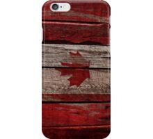 Vintage Canada Flag - Cracked Grunge Wood iPhone Case/Skin