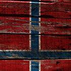 Vintage Norway Flag - Cracked Grunge Wood by UltraCases