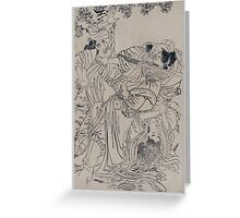 Demon with sword in his mouth upsets tea ceremony 001 Greeting Card