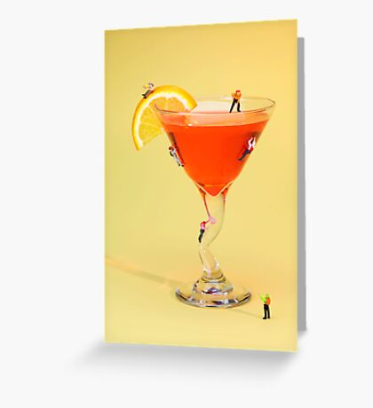 Climbing on red wine cup Greeting Card