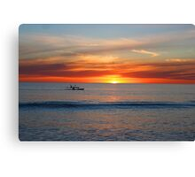 Kayaks by Sunset Canvas Print