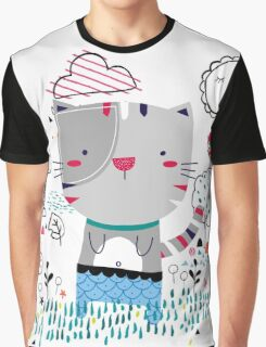 Cat in the Garden Graphic T-Shirt