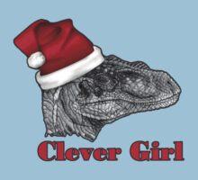 Clever girl funny Velociraptor Christmas tee    Kids Tee