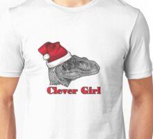 Clever girl funny Velociraptor Christmas tee    Unisex T-Shirt
