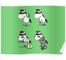 'How The Zebra Got It's Stripes' Comic Strip Poster