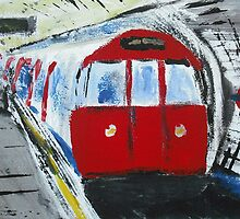 London Underground Red Tube Train Contemporary Acrylic Painting On Canvas Board by JamesPeart