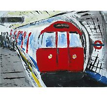 London Underground Red Tube Train Contemporary Acrylic Painting On Canvas Board Photographic Print