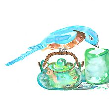 Bluebird with a teapot by Bernadette Crotty