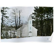 Old Country Church in the Winter Woods Poster