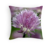 Chive Flower & Bokeh Throw Pillow