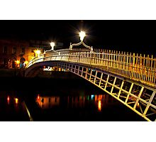 Ha'Penny Bridge At Night Photographic Print