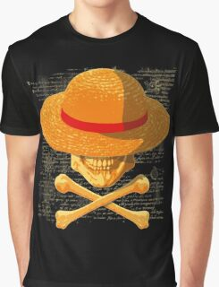 one piece LUFFY skull  realistic hat flag logo ワンピース Graphic T-Shirt
