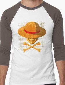 one piece LUFFY skull  realistic hat flag logo ワンピース Men's Baseball ¾ T-Shirt