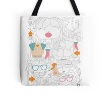 Faces and pets and specs Tote Bag