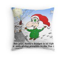 Cartoon Santa Claus and the top 1 percent Throw Pillow