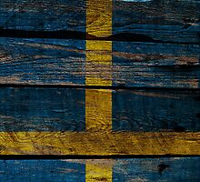 Vintage Sweden Flag - Cracked Grunge Wood by UltraCases