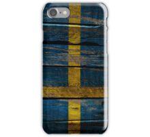 Vintage Sweden Flag - Cracked Grunge Wood iPhone Case/Skin