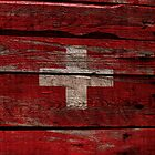 Vintage Swiss Flag - Cracked Grunge Wood by UltraCases