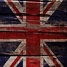 Vintage UK Flag - Cracked Grunge Wood by UltraCases