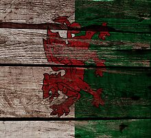 Vintage Wales Flag - Cracked Grunge Wood by UltraCases