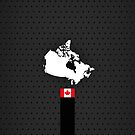 Canada Flag and Map - Black Stripe on Dark gray by UltraCases