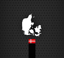 Denmark Flag and Map - Black Stripe on Dark gray by UltraCases