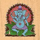 peace ganesh parchment by peter barreda
