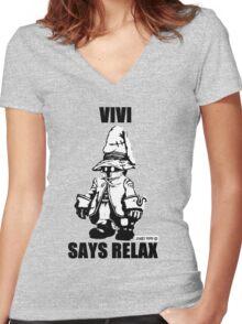 Vivi Says Relax - Monochrome Women's Fitted V-Neck T-Shirt