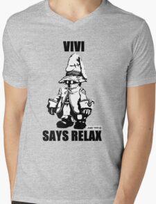 Vivi Says Relax - Monochrome Mens V-Neck T-Shirt
